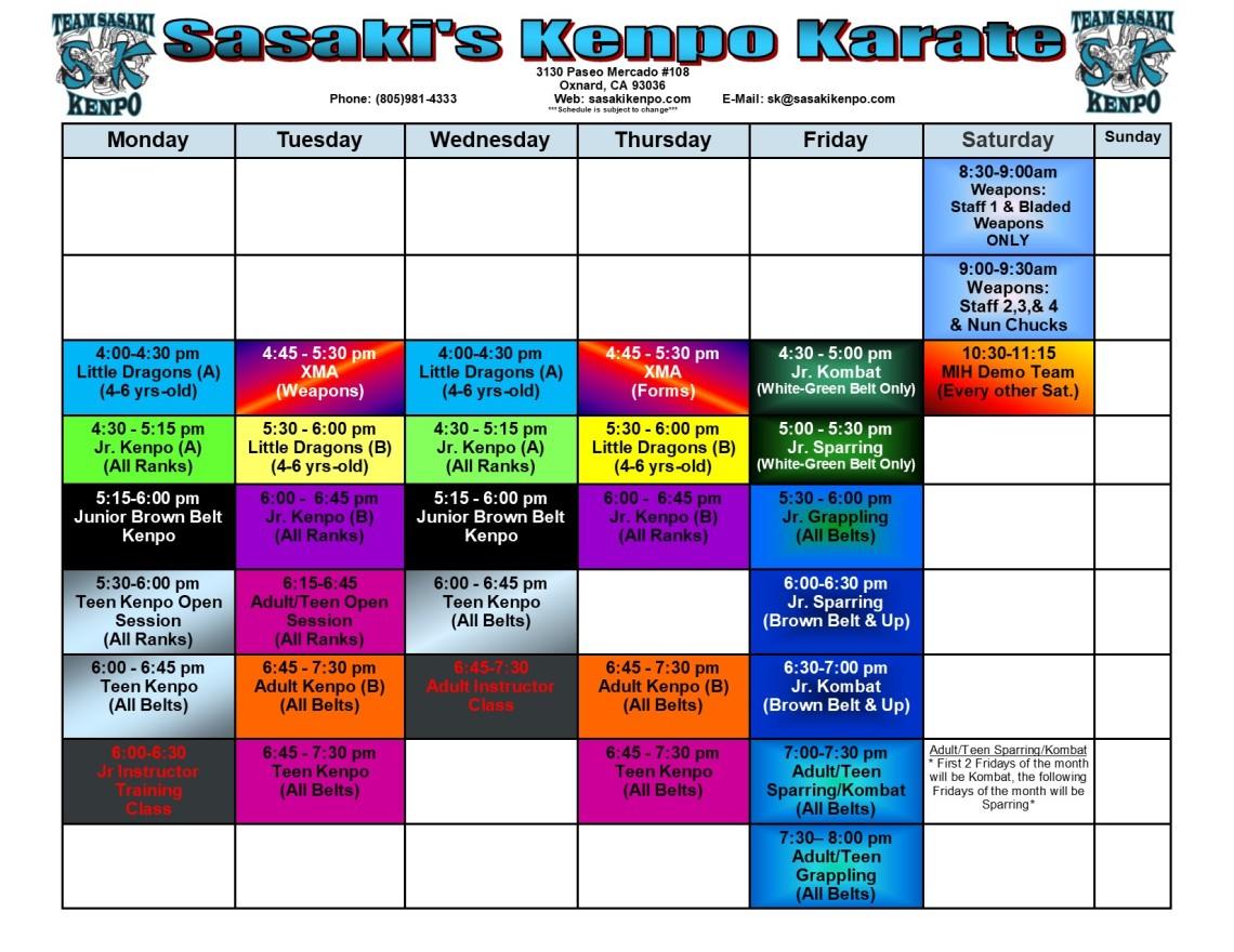 Updated 4-12-17 studio schedule